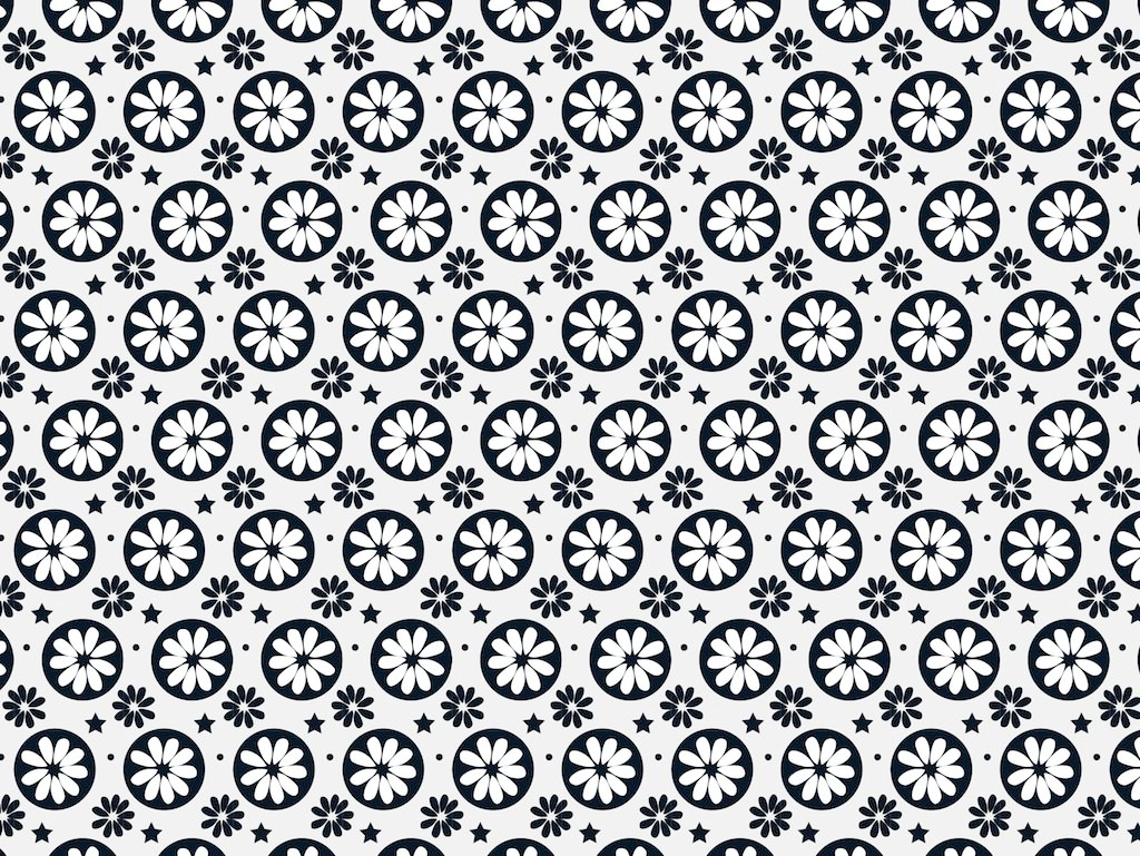Minimal Black and White Floral Pattern