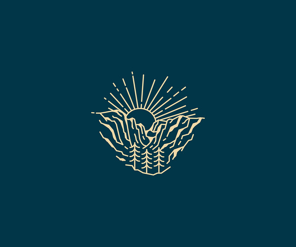 Mountain Sun Rise Design Logo For Free