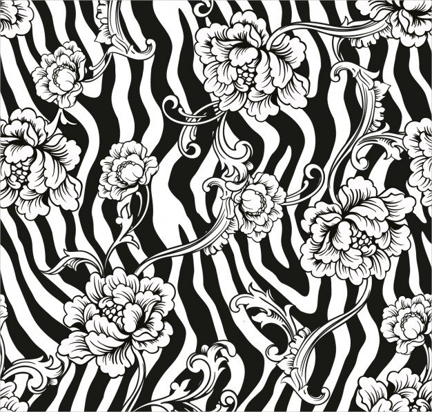 Ornamental Flowers on zebra Pattern