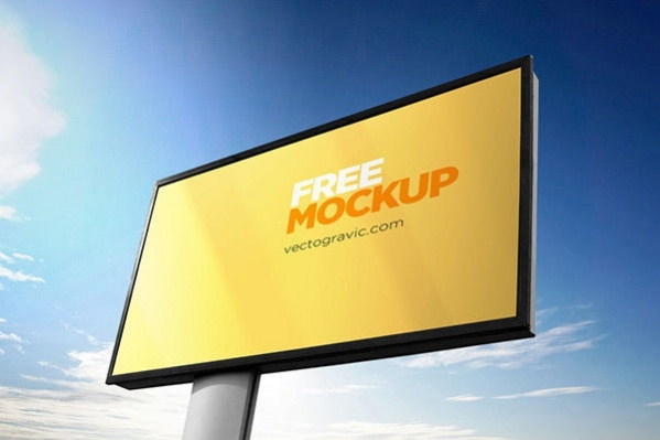 Outdoor Sign Advertising Mockup PSD in 4 Unique Angles