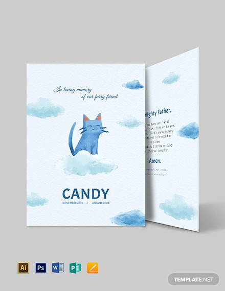 pet funeral memorial card template