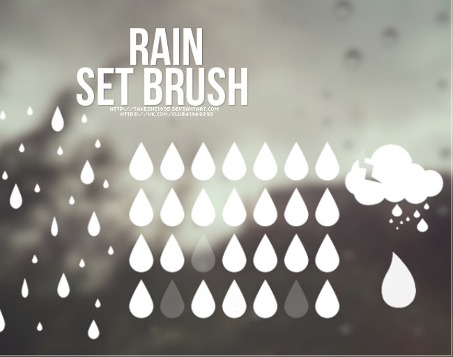Photoshop Rain Set Brush