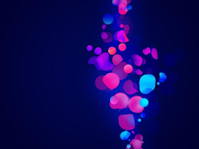 pink blue shapes on dark blue background
