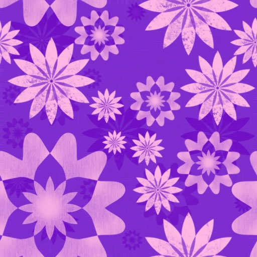 Pink Flowers Bloom Free Seamless Pattern with Purple Background