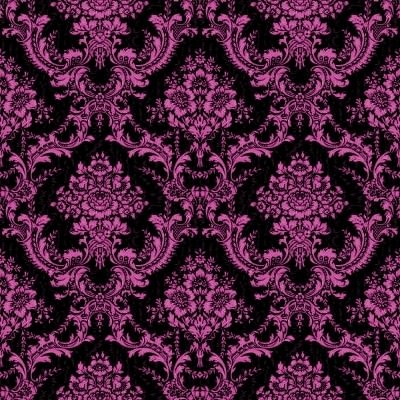 Pink and Black Ornate Floral Pattern Wallpaper