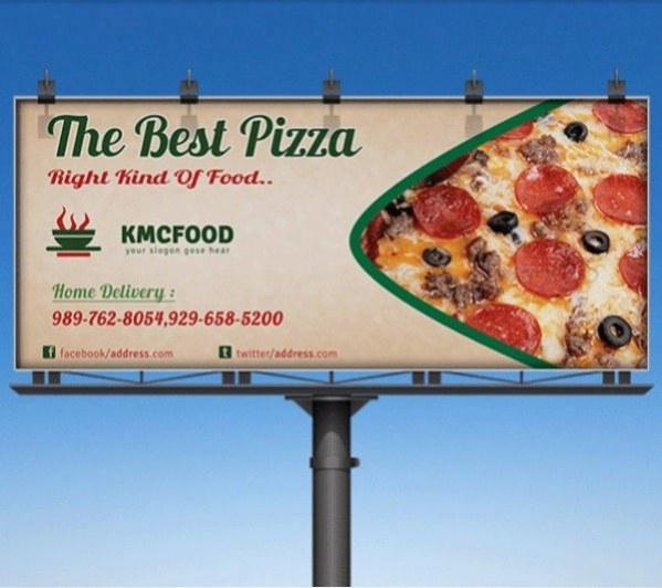 Pizza Shop Business Billboard Advertising Mockup