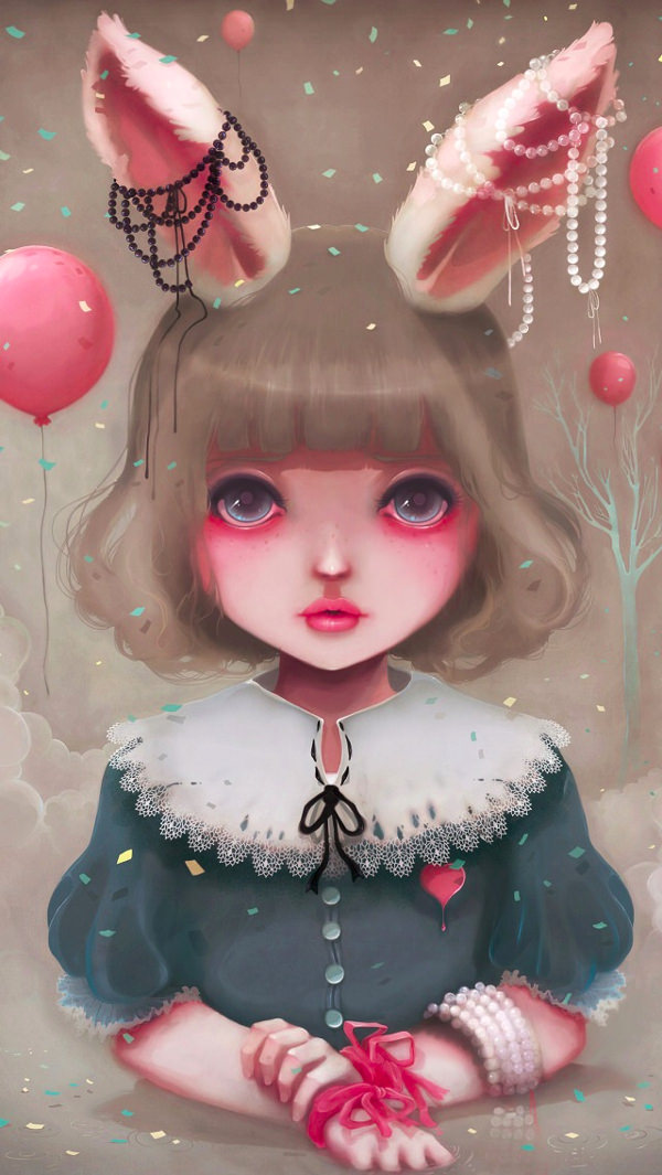 Pretty Girl With Rabbit Ears iPhone Background