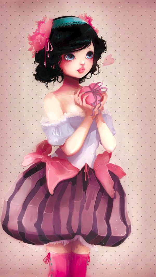 Pretty Girl With a Heart to Gift iPhone Background