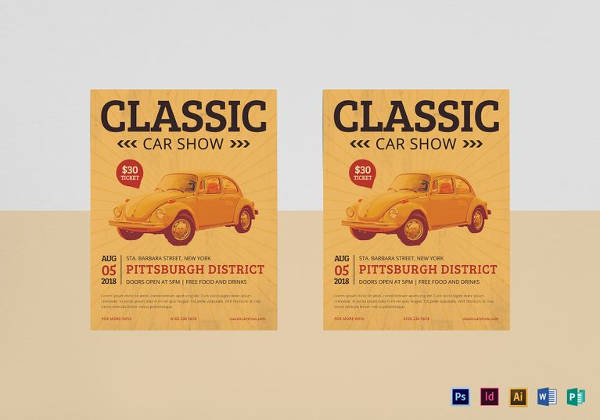 Printable Classic Car Show Flyer Template