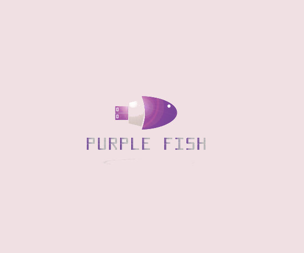 Purple Fish Logo Design For Free