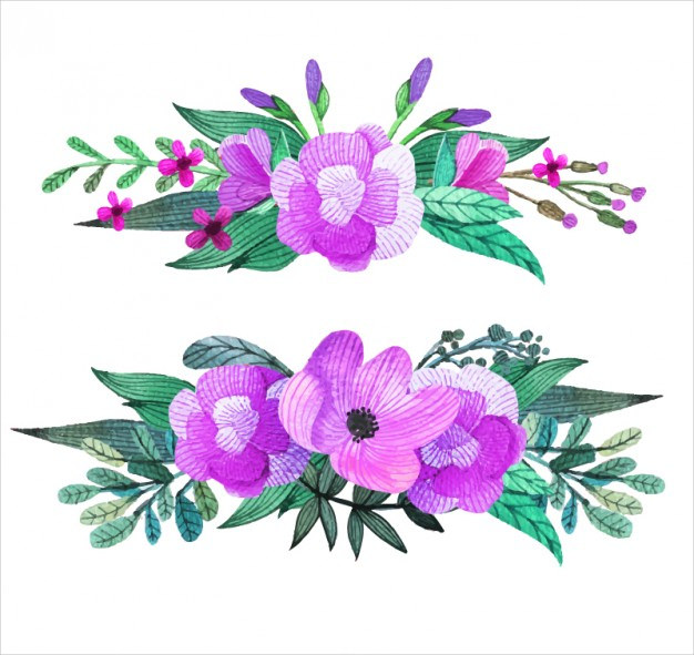 Purple Flowers Corsage Background Free Vector