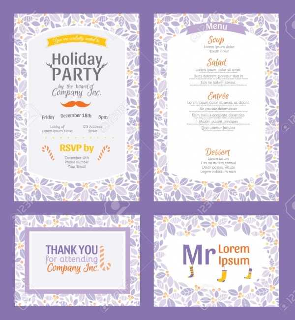Purple Holiday Party Invitation Design