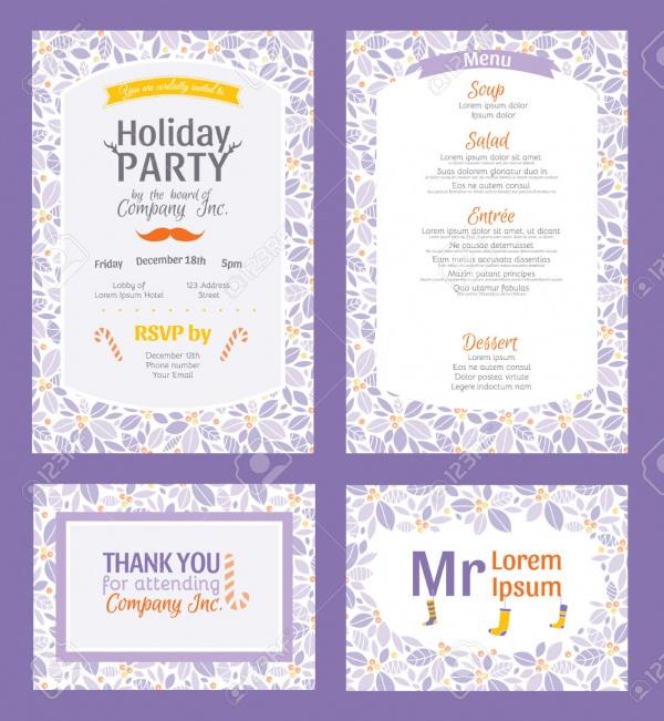 purple holiday party invitation design