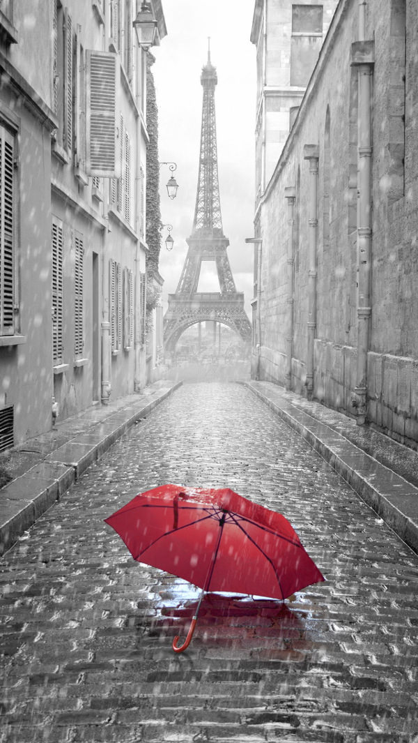 Rain in Paris iPhone 5c Background