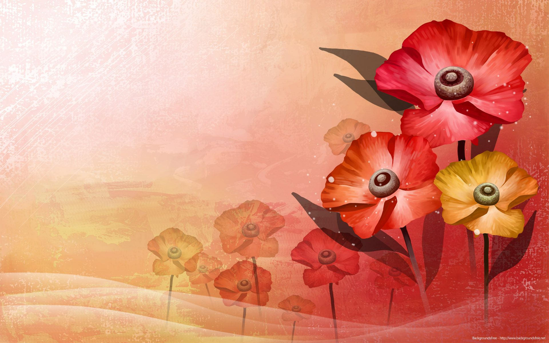 Red Flower Vector PPT Background