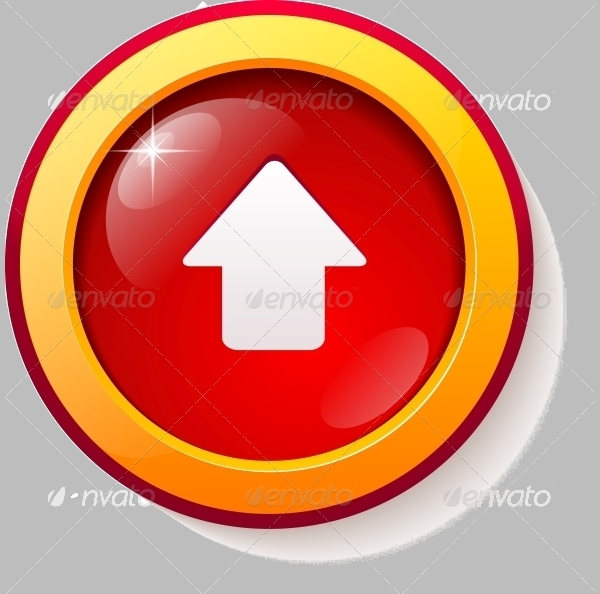 Red Glass Vector Arrow Button