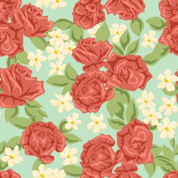 Red Roses Flower Seamless Pattern