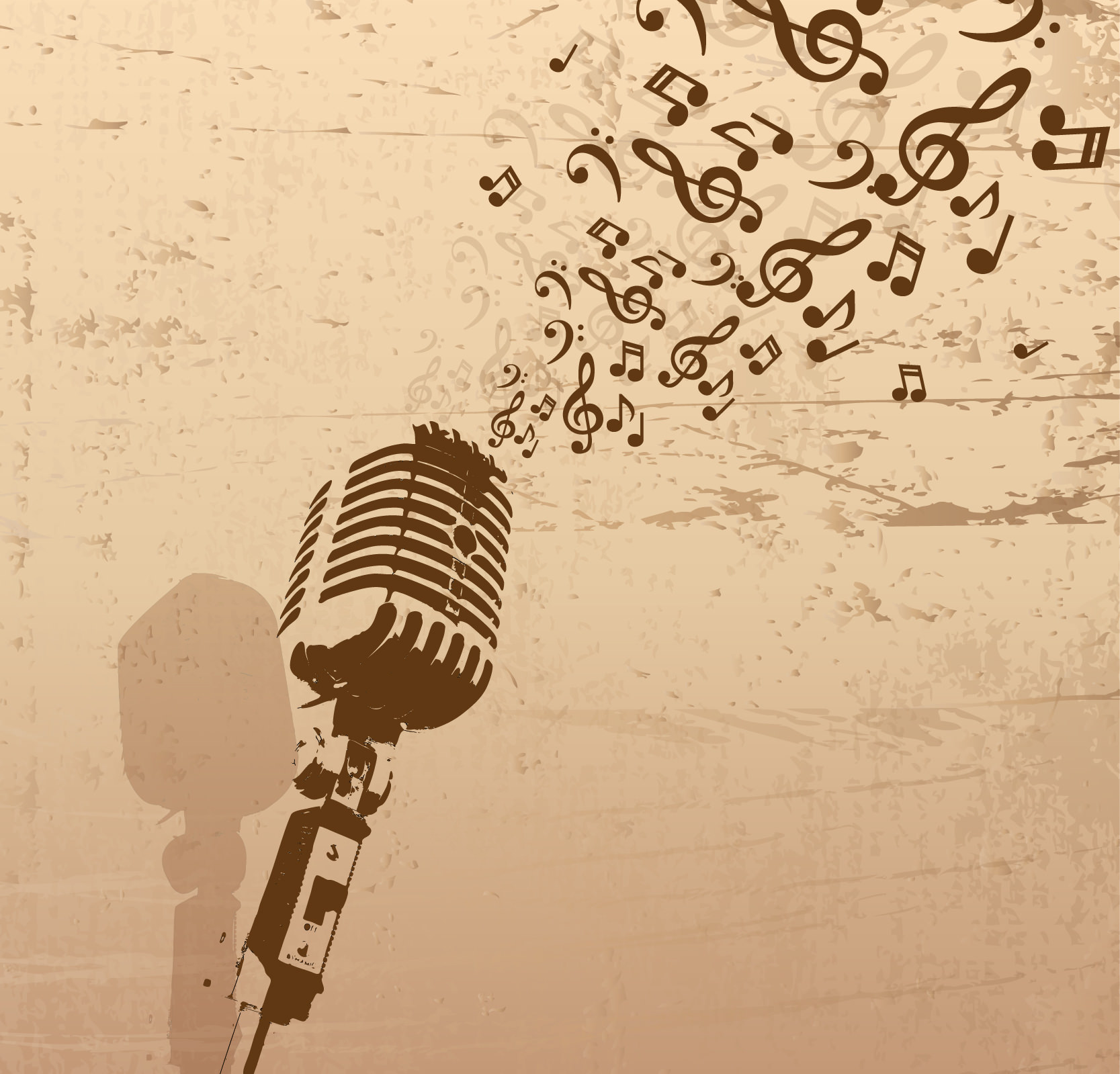 Retro Microphone Music Free Vector Background