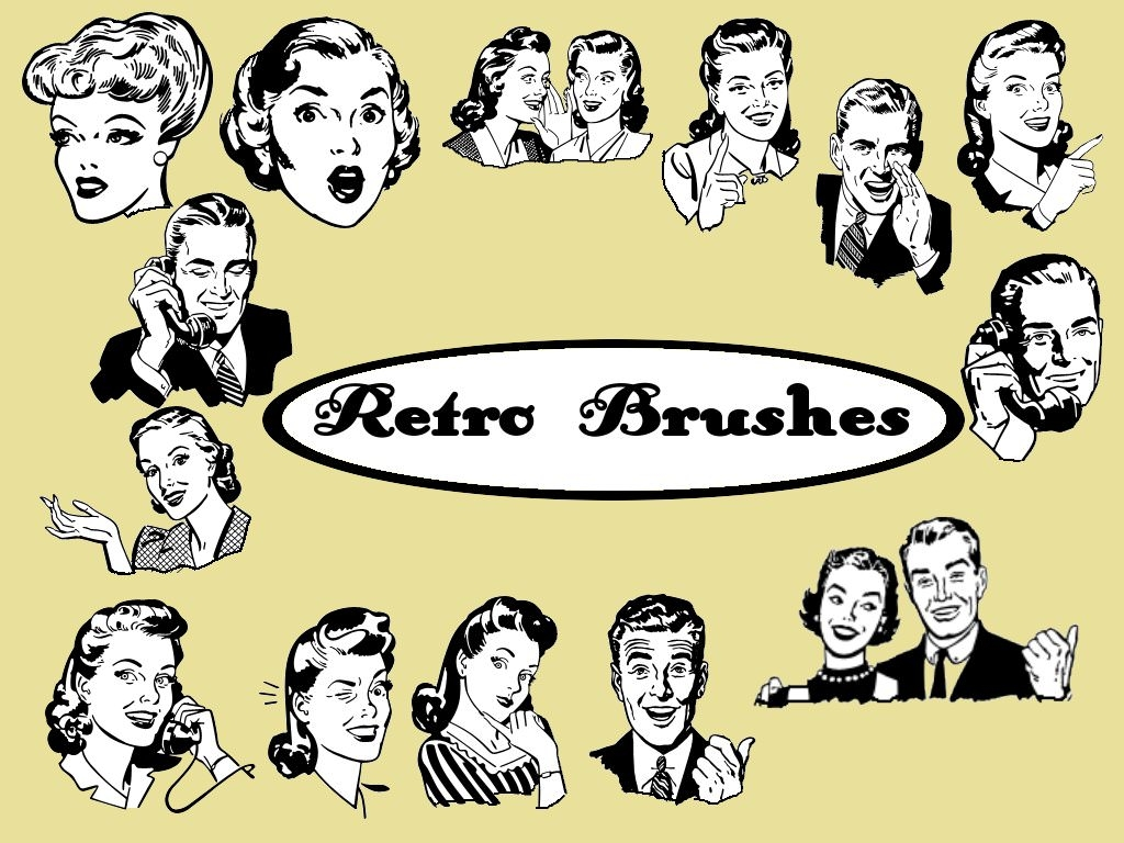 Retro People Brushes