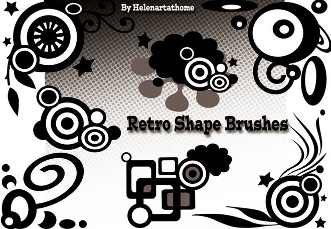 Retro Shapes Photoshop Brushes