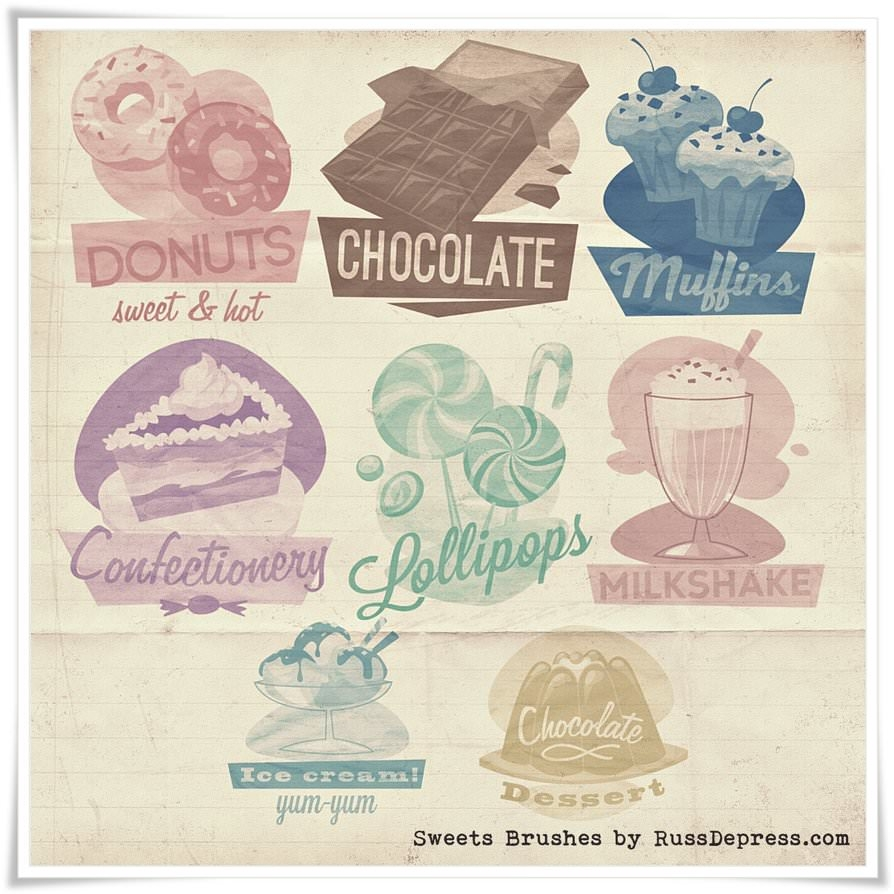 Retro Sweets Shabby Chic High Res Photoshop Brushes