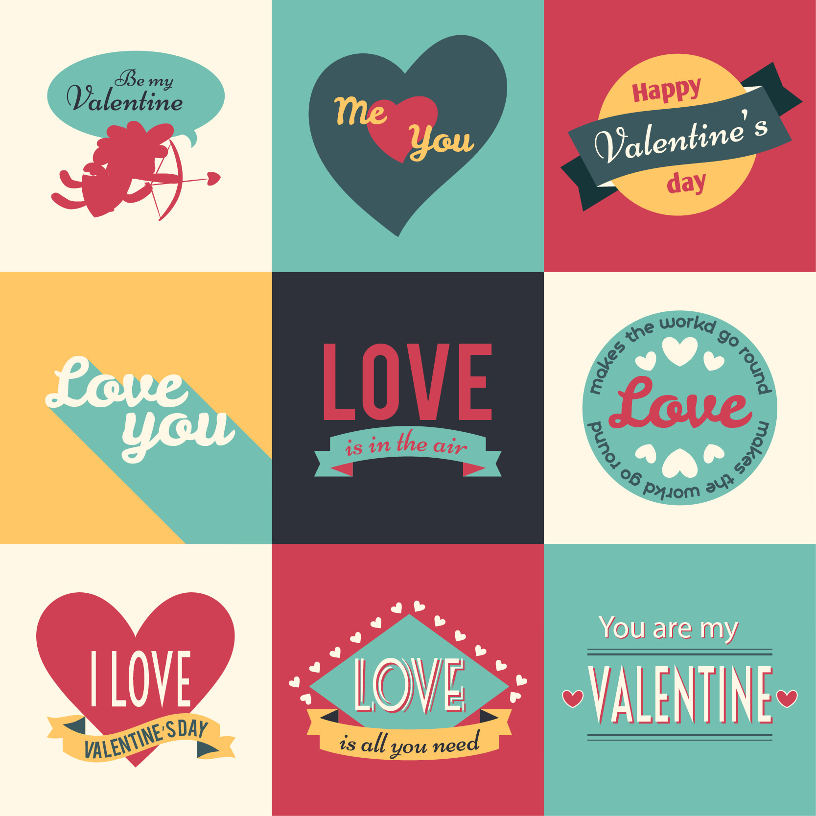 Retro Valentine's Day Badges