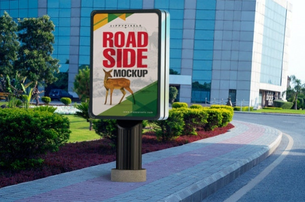 road side outdoor poster mockup psd