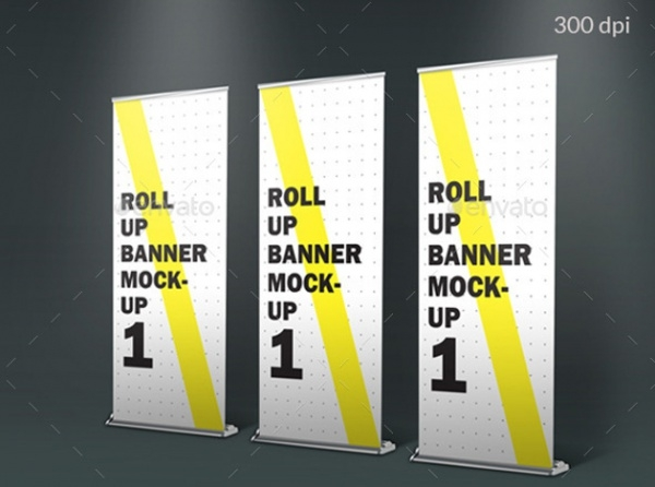 roll up standing banner photorealistic mockup