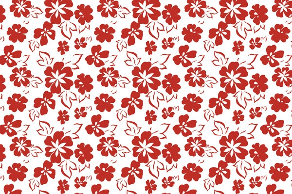 Seamless Free Vector Red Floral Pattern Wallpaper