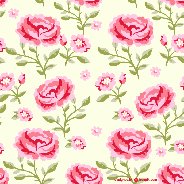 Seamless Pink Rose Flowers Pattern Illustrator