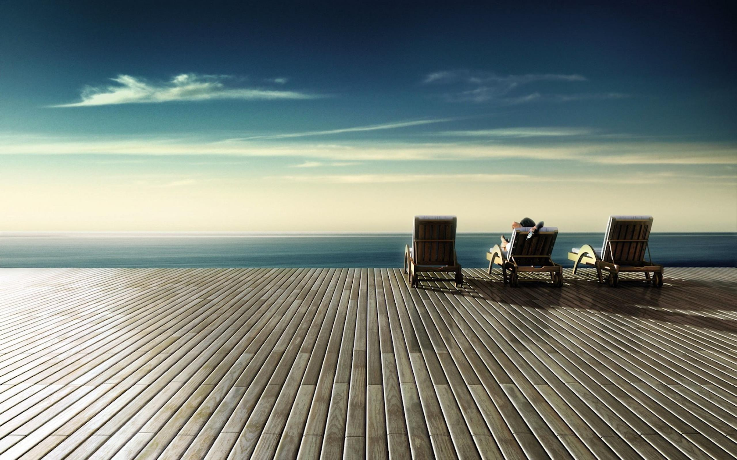 Sky Shore HD Wood Floor Wallpaper