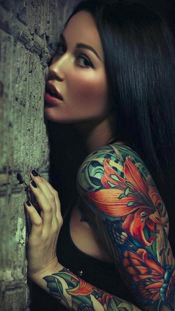 Sleeve Tattoo Girl iPhone 5 Background
