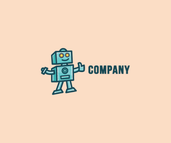 Smart Cartoon Robot Logo For Free