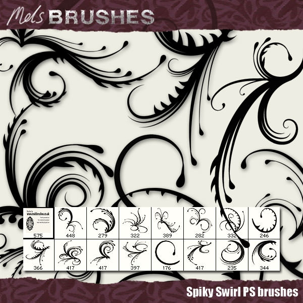 Spiky Swirls Photoshop Brushes