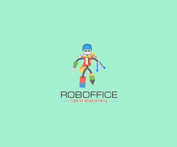 Stationery Robot Logo For Free