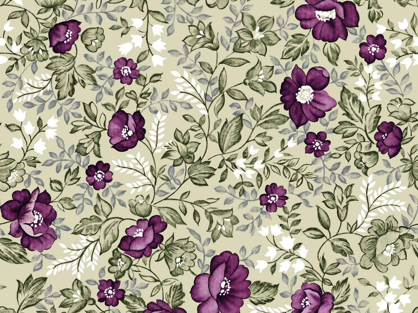 Purple Floral Wallpaper Pattern