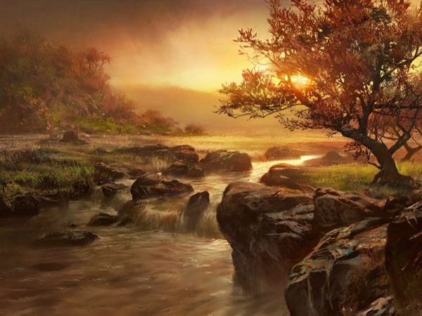 Stunning Waterfall Painting Wallpaper