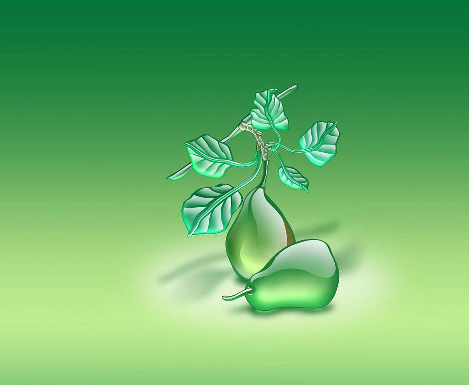 Transparent Green Leaf Wallpaper
