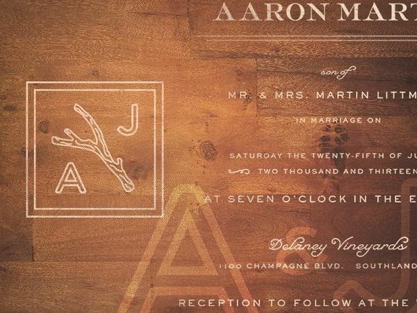 Typography Retro Wooden Invitation