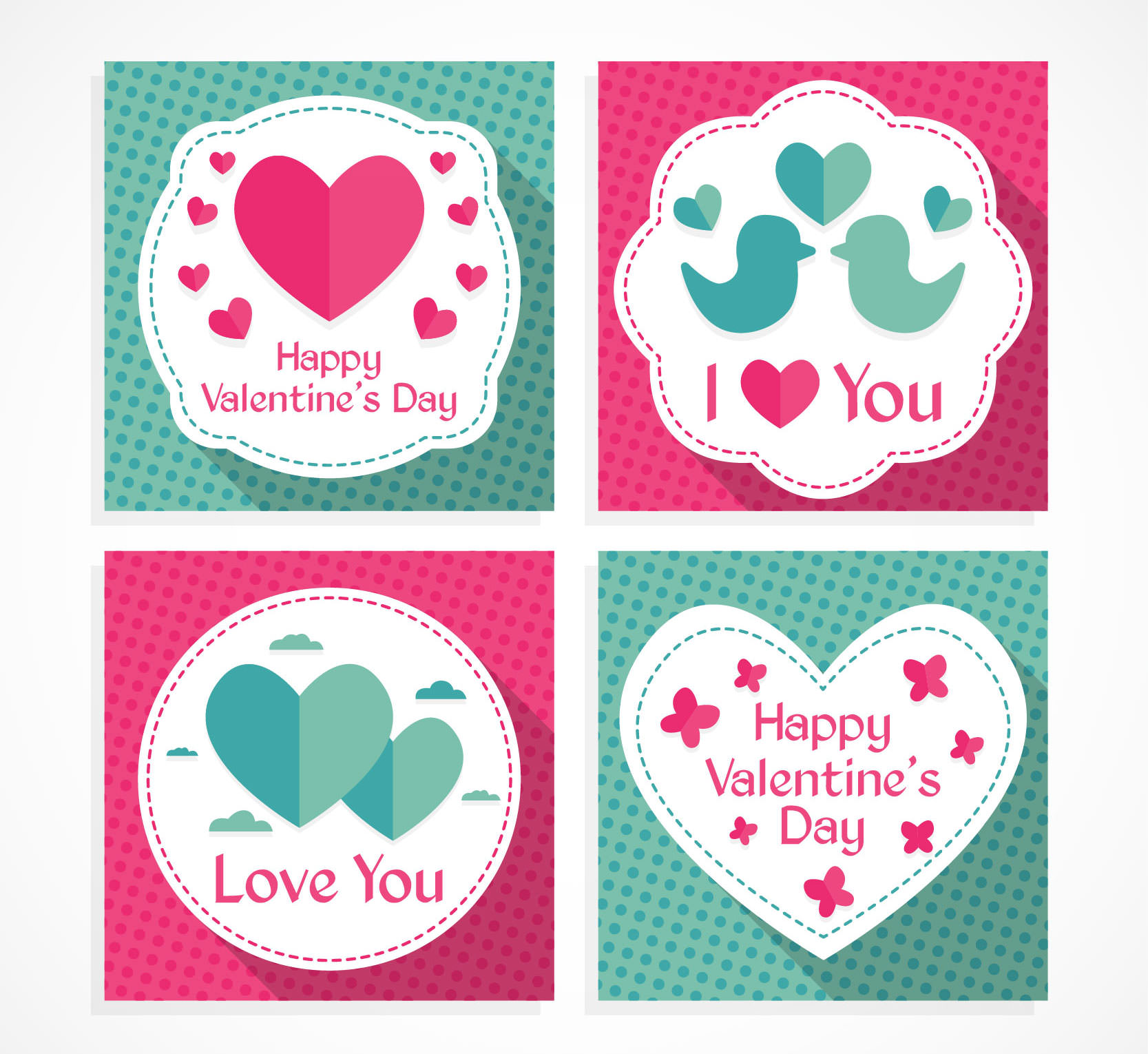 Valentine's Cute Love Birds Badges Pack