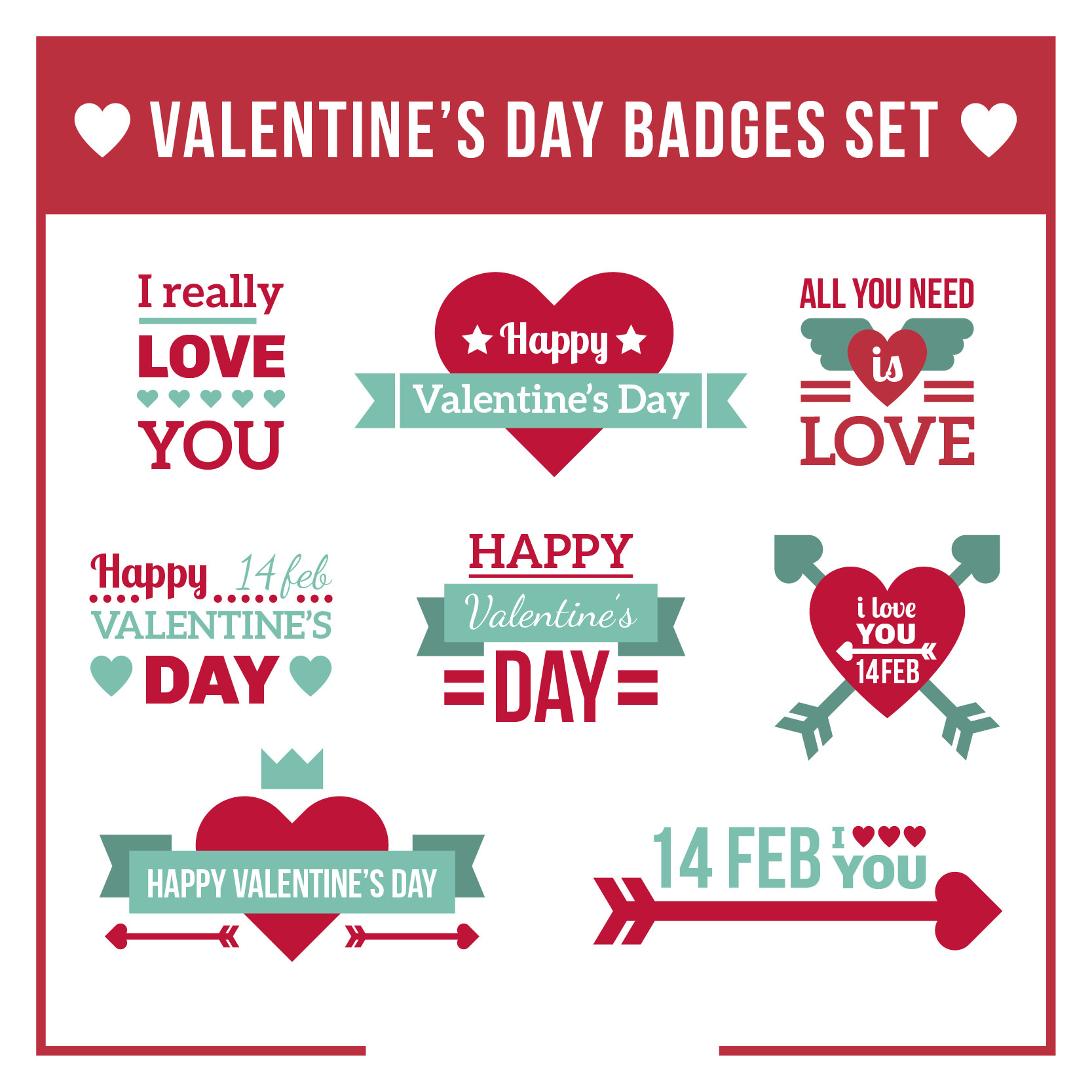Valentine's Day Badges Set in Flat Design