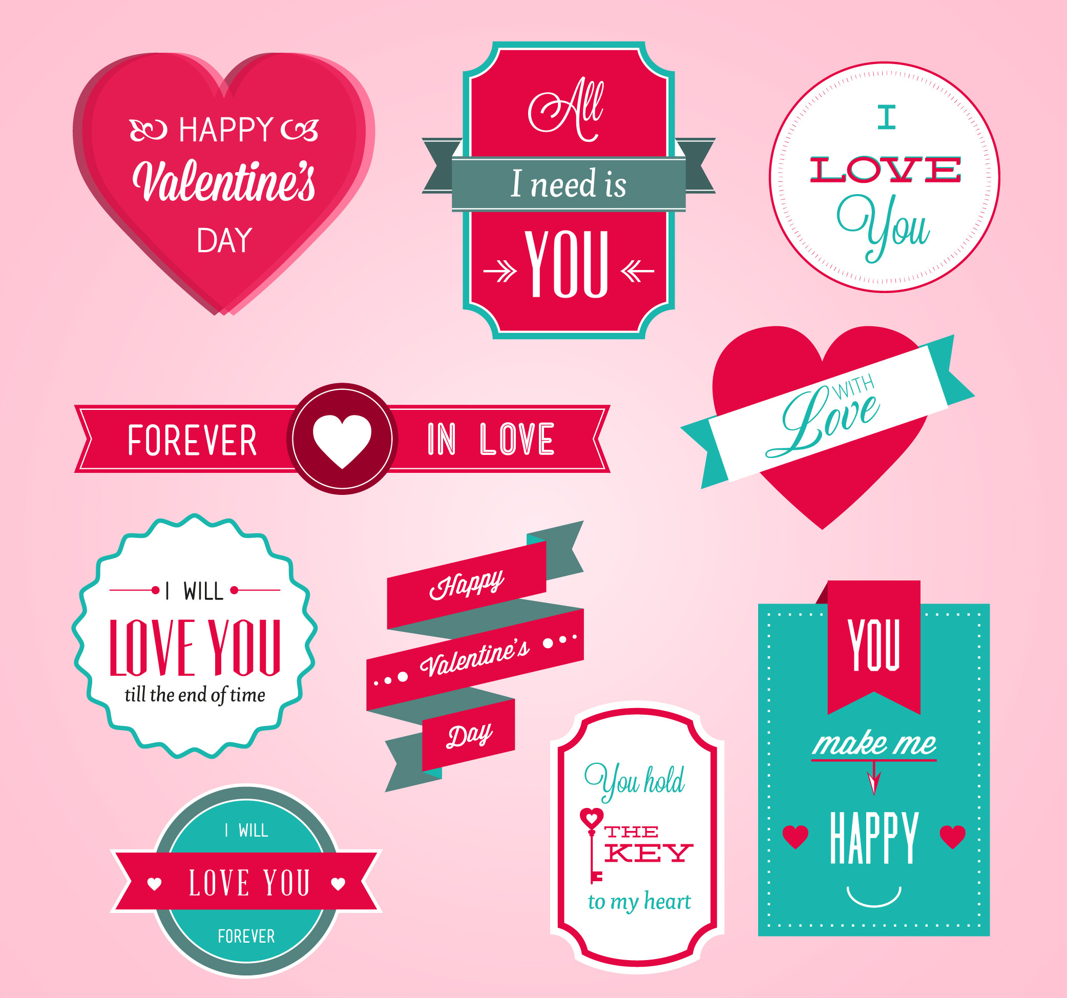 Valentine's Vector Badges Set