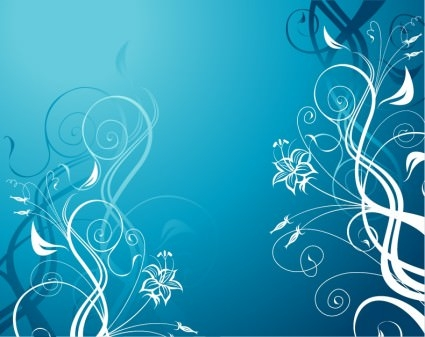 Vector Blue Floral Pattern Background