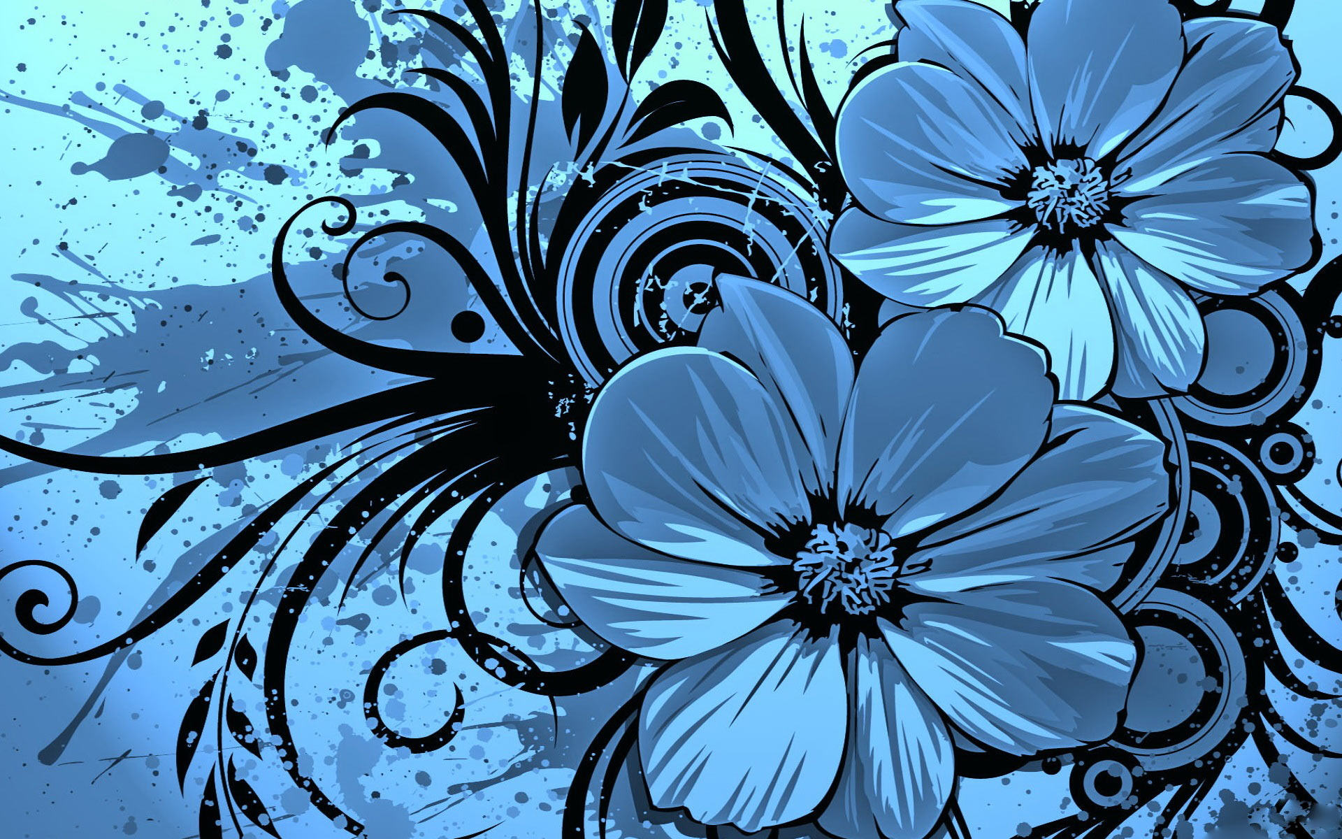Vector Flower Blue with Black Background