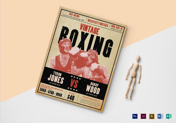 Vintage Boxing Flyer Template
