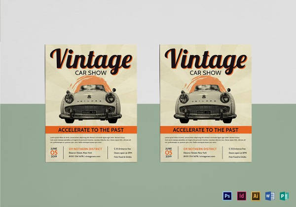vintage car show flyer template in psd