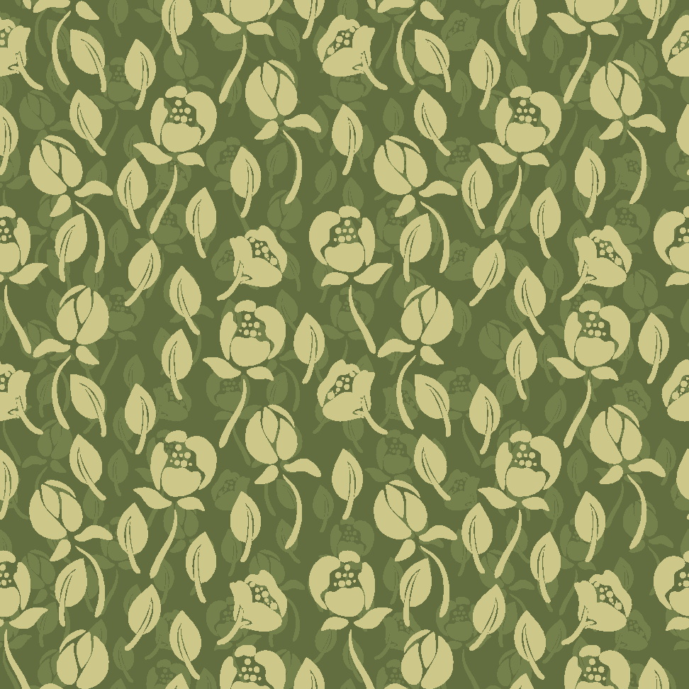 Vintage Green Seamless Flower Pattern
