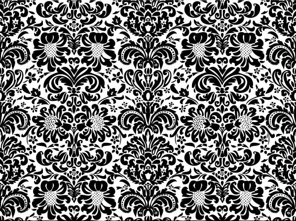 Vintage Vector Black And White Floral Patterns