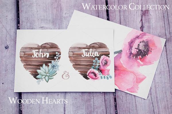 Watercolor Wooden Hearts Invitation Design