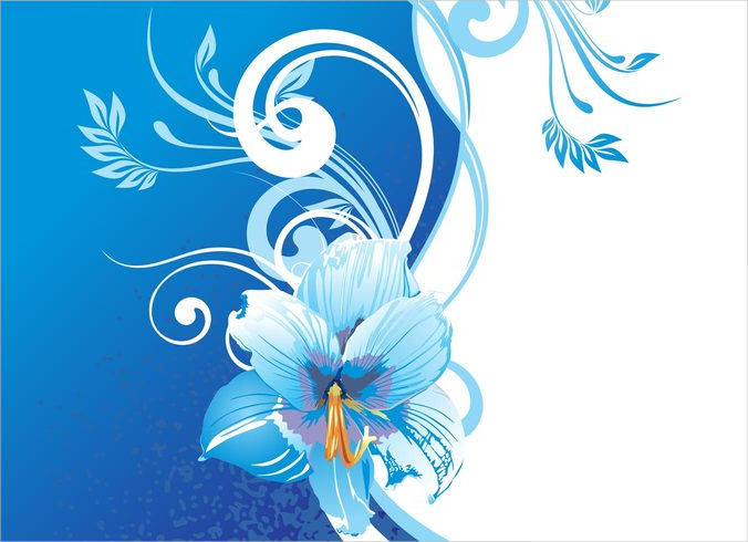 White Background With Blue Flowers